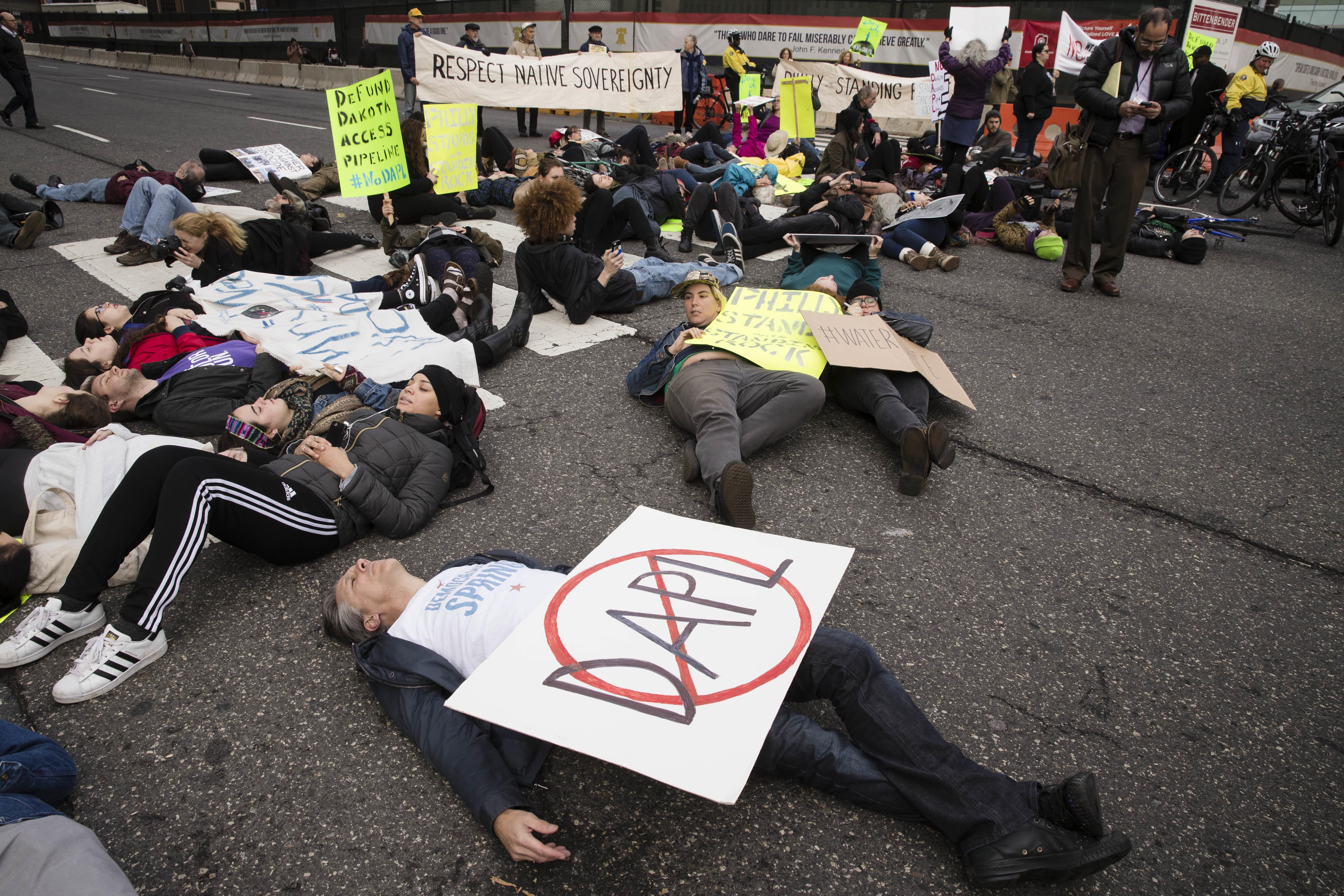 Trump's election overshadows pipeline protests around the U S