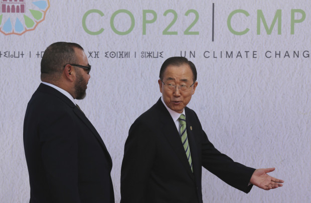 "Morocco's King Mohammed VI, is welcomed by United Nations Secretary-General Ban Ki-moon, right, at the U.N. climate conference in Marrakech, Morocco, Tuesday, Nov. 15, 2016. United Nations Secretary-General Ban Ki-moon says he hopes Donald Trump will shift course on global warming and ""understand the seriousness and urgency"" of addressing the problem."