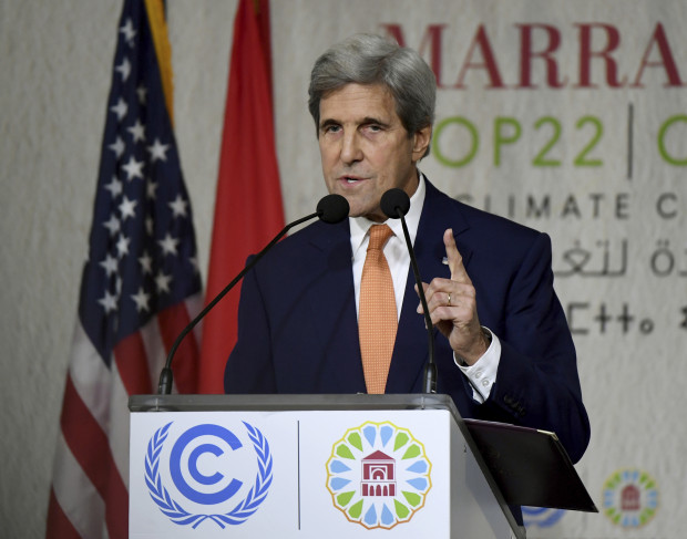 US Secretary of State John Kerry gives his speech at the COP22 climate change conference on November 16, 2016, in Marrakesh.
