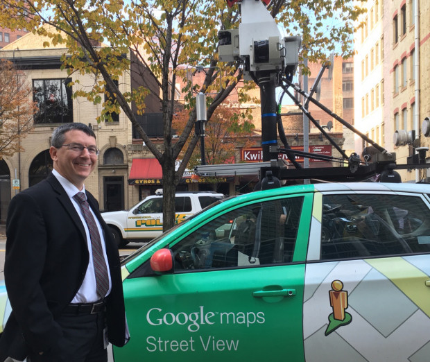 Acting DEP Secretary Patrick McDonnell next to one of the Google Street View cars that will be fitted with sensors to detect gas leaks in Pittsburgh.