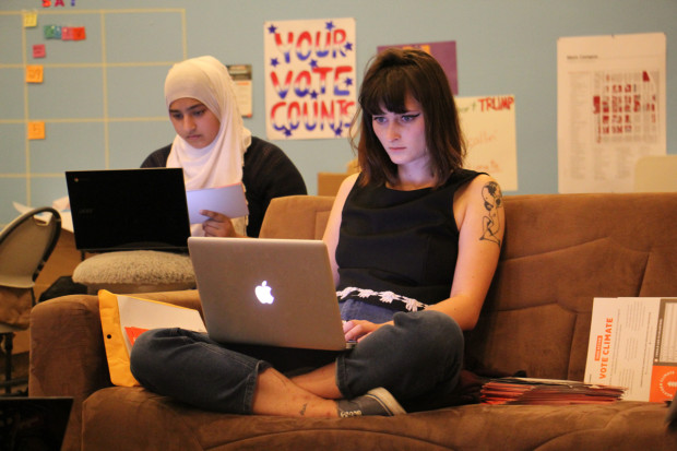 NextGen field organizer Ann Drabick (right) and Temple student Rabia Kashmiri using social media to get out the millennial vote.
