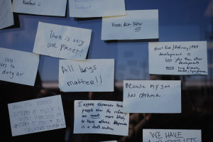 Protestors left Post-It notes.