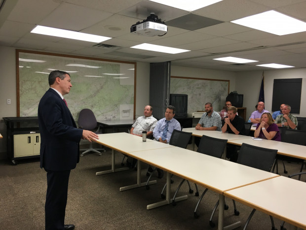 Acting state environmental secretary Patrick McDonnell speaking to DEP employees in August.