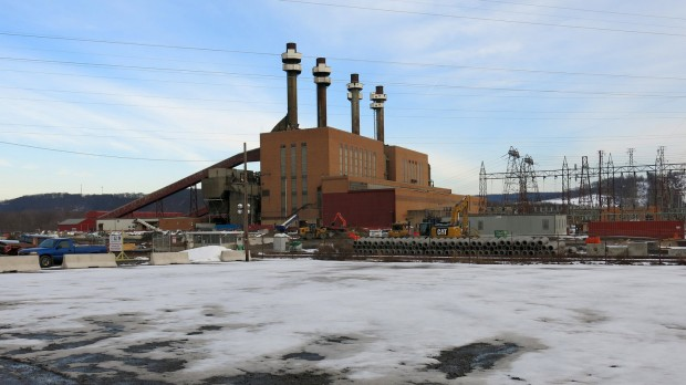 The coal plant in Shamokin Dam delivered electricity to the region for more than six decades. It closed in 2014. Next to it, a new natural gas power plant is under construction. The Sunbury Pipeline will feed Marcellus Shale gas into that plant.