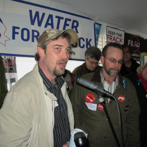 Dimock resident Scott Ely at a protest in 2012. Ely worked for the gas company and later became a whistle blower when he says the company ruined his well water. Ely sued Cabot and a federal jury awarded him and his family $2.7 million.