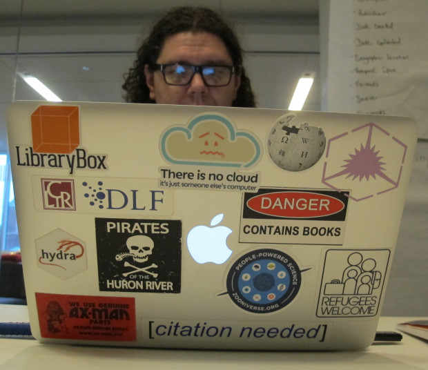 University of Michigan librarian ...works on downloading scientific data as part of the Data Refuge hackathon at the University of Pennsylvania.