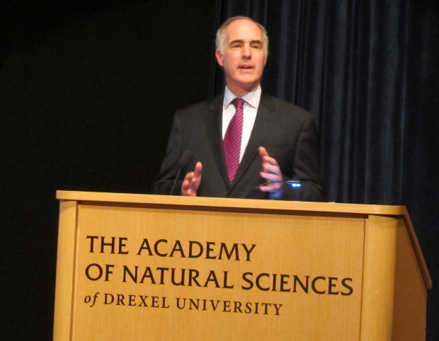 Senator Bob Casey speaks at the Academy of Natural Sciences January 26, 2017. Casey urged more activism.
