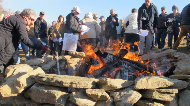 About 200 people gathered in southern Lancaster County Sunday and ceremonially burned the final environmental impact statement for the Atlantic Sunrise pipeline. In the document, federal regulators had concluded the project would not create significant environmental harm.