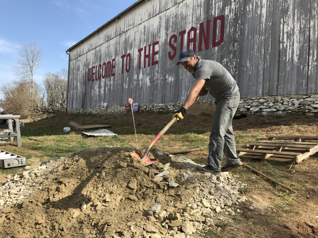 Protester Tony Smith works at an encampment that's emerged in Lancaster County to protest the Atlantic Sunrise Pipeline.