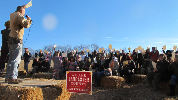 Protesters gathered in January to ceremonially burn the environmental impact statement for the Atlantic Sunrise pipeline.