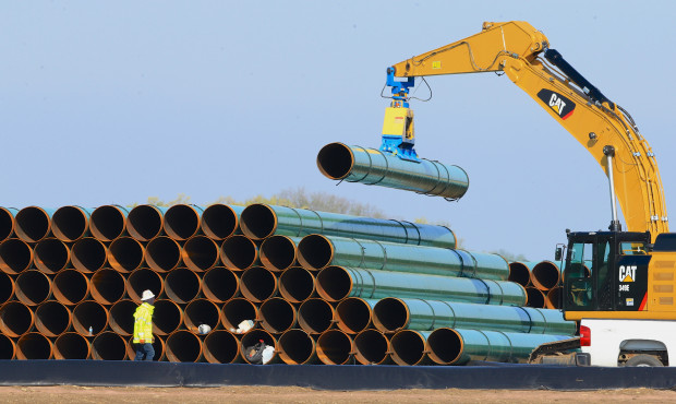 In this May 9, 2015 file photo, pipes for the proposed Dakota Access Pipeline are stacked at a staging area in Worthing, S.D. Sunoco Logistics received permits to construct the Mariner East 2 pipeline across the state, but still need permits from the Army Corps of Engineers.