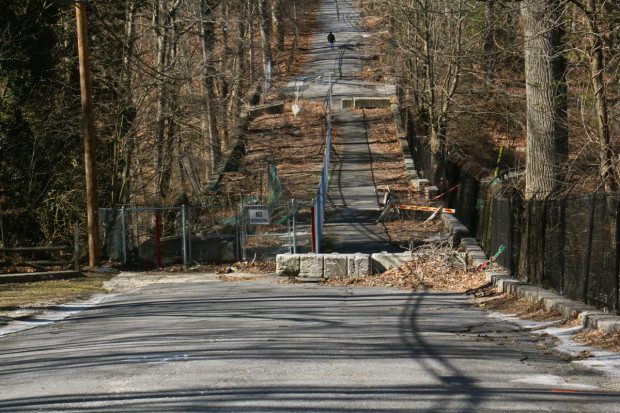 Third Street in Media, Delaware County, which passes over the Broomall Lake Dam, is closed to traffic.