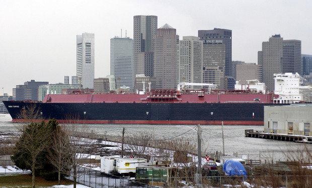 FILE: A liquefied natural gas tanker in Boston Harbor. The city continues to import natural gas from overseas, despite an abundant supply of gas from the nearby Marcellus Shale.
