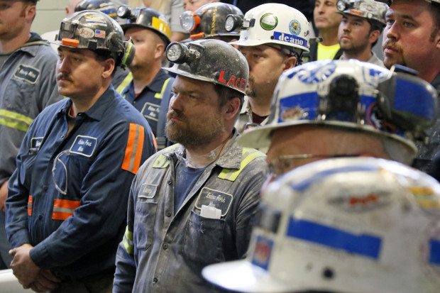 A group of coal miners listen to U.S. Environmental Protection Agency Administrator Scott Pruitt during his visit to Consol Pennsylvania Coal Company's Harvey Mine in Sycamore, Pa., Thursday, April 13, 2017.