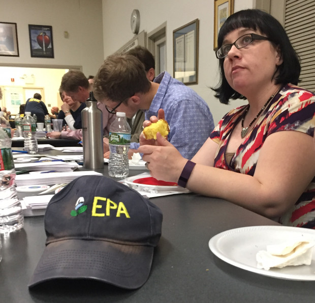 EPA union employees gather at the PFT union hall in Philadelphia March 30, 2017 to write letters urging their representatives to not support President Trump's budget blueprint.