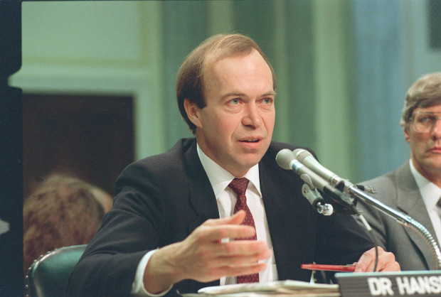 Dr. Jim Hansen, when he was director of NASA's Goddard Institute for Space Studies in New York, testifies before a Senate Transportation subcommittee on Capitol Hill in Washington, D.C., May 9, 1989.