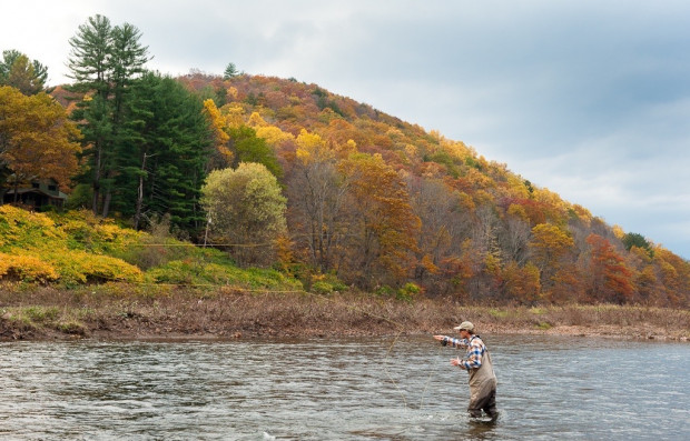 Dan Plummer fishes for trout in the Delaware River, Delaware County New York. The Delaware watershed hosts world class trout fisheries. But a dispute over water allocation between New York City and New Jersey could put those fisheries in jeopardy.