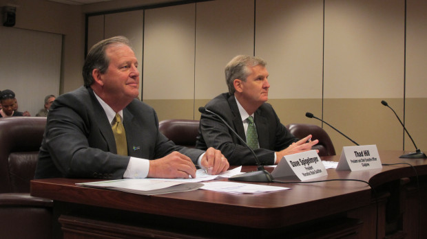 David Spigelmyer (left) heads the gas trade group, the Marcellus Shale Coalition. He testified Wednesday, along with Thad Hill, President and CEO of Calpine, a natural gas power company.