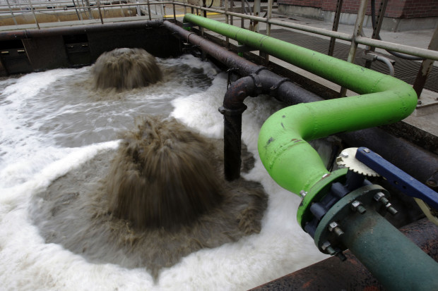 In this photo taken on Feb. 26, 2009, an aeration basin is seen in operation at the Wilmington Wastewater Treatment Plant in Wilmington, Del.