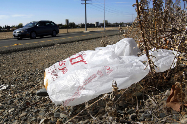 This Oct. 25, 2013 file photo shows single-use plastic bag along a roadside in Sacramento, Calif. California. A bill on Pa. Gov. Wolf's desk would forbid municipalities from banning plastic bags in the state.