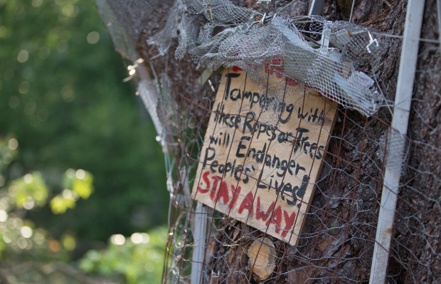 A sign on the trunk of a tree at Camp White Pine in Huntingdon County, Pennsylvania.