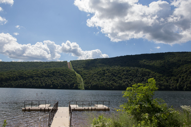 In the distance, construction of the Mariner East 2 pipeline at Raystown Lake Recreation Area in Huntingdon County, Pennsylvania.