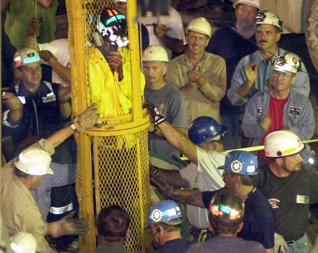 FILE: The ninth and final miner is removed from the Quecreek Mine, seen in this July 28, 2002, file photo, in Somerset, Pa.