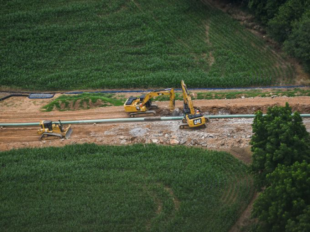An aerial view of Sunoco Pipeline's Mariner East 2 construction in rural Pennsylvania. Construction of the pipeline has resulted in dozens of incidents where drilling mud was released into surface water and groundwater aquifers.