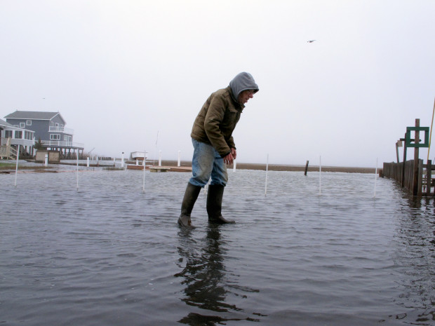 This April 26, 2017 photo shows Jim O'Neill walking through a flooded street in front of his home in Manahawkin N.J. after a moderate storm. He lives in a low-lying area near the Jersey shore, and is often affected by back bay flooding, a type of recurring nuisance flooding that's affecting millions of Americans and which experts agree has not been as widely addressed as oceanfront flooding, in part because potential solutions are much more difficult.
