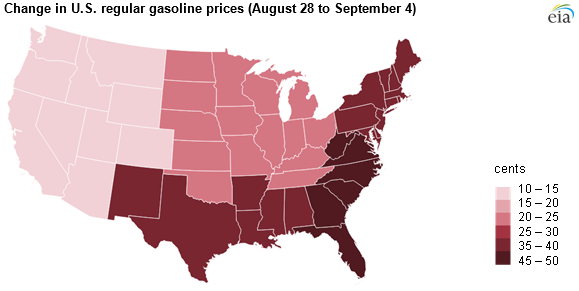 EIA map of gasoline prices