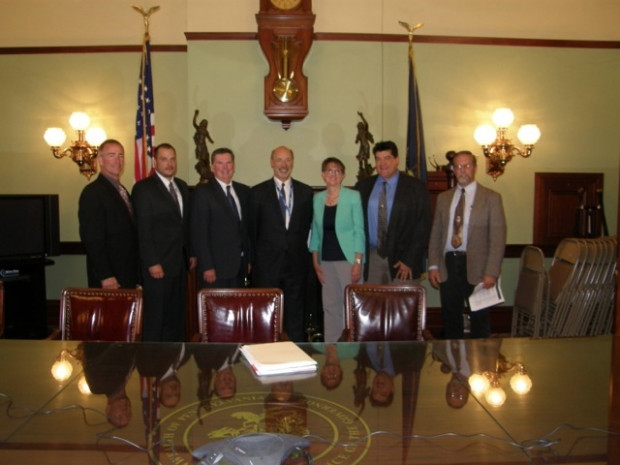 In 2015 Wolf met with elected officials and landowners from Wayne County to discuss the moratorium on natural gas development in the Delaware River Basin.
