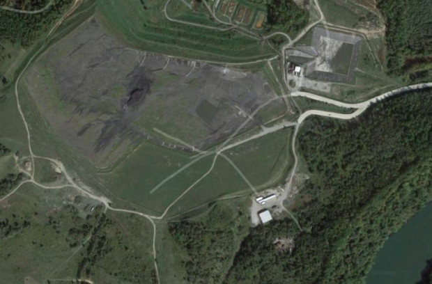 The coal ash pile at Hatfield's Ferry Power Station. Image: Google