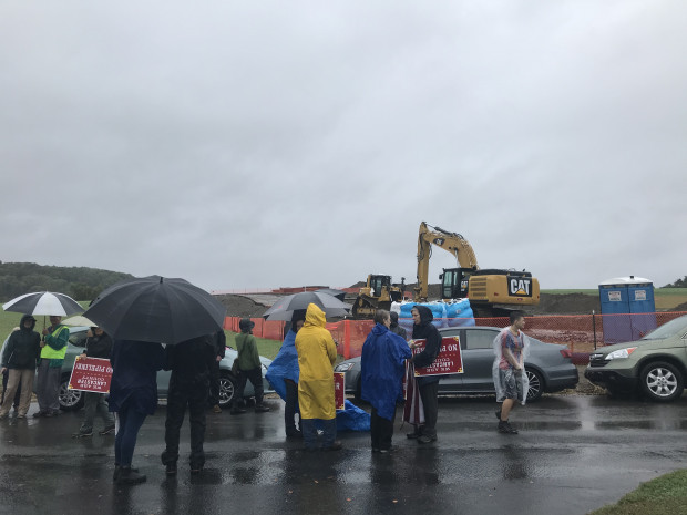 Protesters parked cars along Witmer Road in Manor Township to block access to a work site for the Atlantic Sunrise natural gas pipeline.