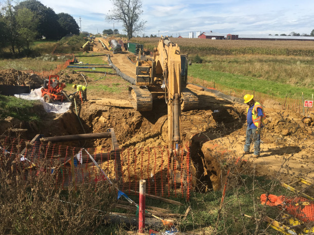 A backhoe works at a construction site for the Mariner East 2 pipeline in Lebanon County.