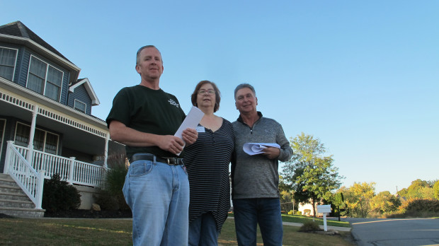 The split in Jessup touched off by the power plant sliced through the local Democratic party. Five people, including school board candidate James Moran (left) and borough council candidates Roberta Galati (center) and Peter Larioni (right), are running as Jessup Independent Democrats. The two incumbent council members running as mainline Democrats lost in the May primary election.