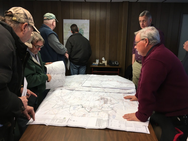 Somerset County residents examine a map of the proposed Keyser mine Tuesday at a meeting with officials from the Department of Environmental Protection.