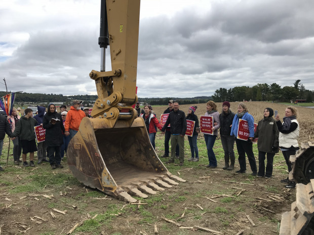 Protesters confront a construction crew for the Atlantic Sunrise pipeline in central Pennsylvania.