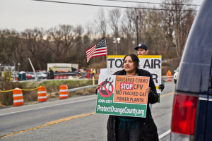 Pramilla Malick protests at the construction site of CPV's Valley Energy Center in Wawayanda, NY. Malick has been protesting weekly for the past three years.
