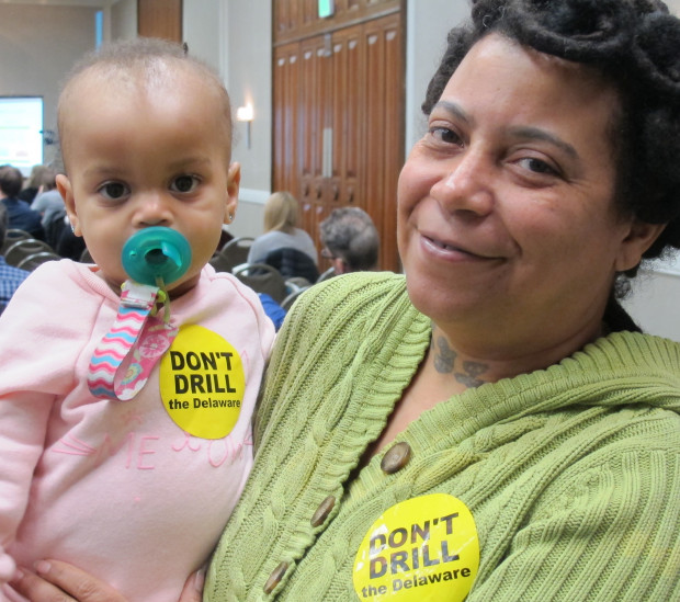 Cayleigh Dorsey was the youngest to stand by the podium at the DRBC hearing. She's one year old, and was held by her grandmother Alicia Dorsey, from South Philadelphia.