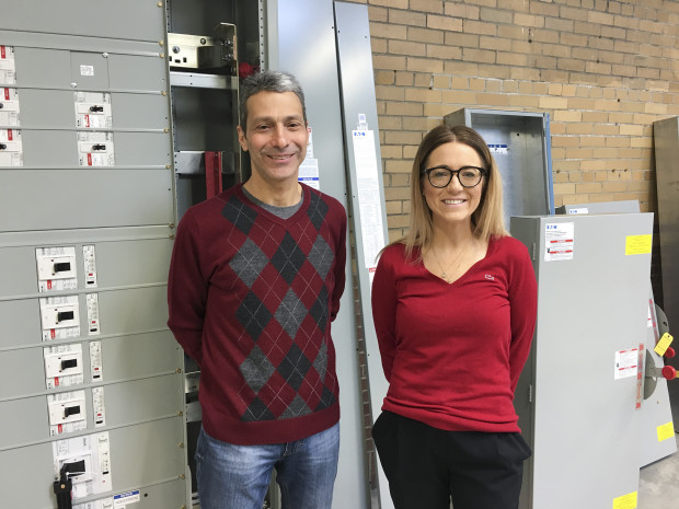 Greg Reed and Katrina Kelly-Pitou of the University of Pittsburgh will soon work on grid technologies in this lab at the Energy Innovation Center.