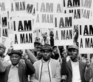 This archival photo shows the 1968 sanitation workers strike in Memphis.