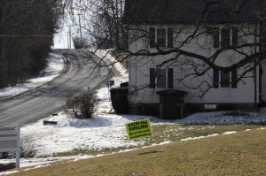 A yard sign on Pohopoco Drive in Lehighton, Pennsylvania, shows local opposition to the PennEast pipeline.