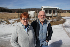 Linda and Roy Christman object to the PennEast pipeline's use of their land, in Christman family hands for four generations. The proposed pipeline would run through their fields behind the chicken coop.