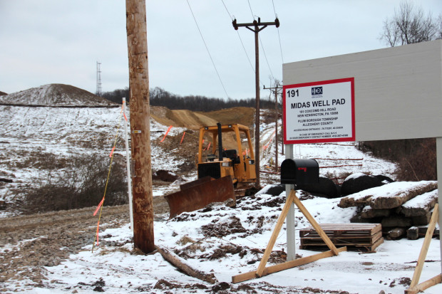 Huntley & Huntley's Midas Well pad, the first Marcellus shale gas well in the Pittsburgh suburb of Plum. Photo: Reid R. Frazier