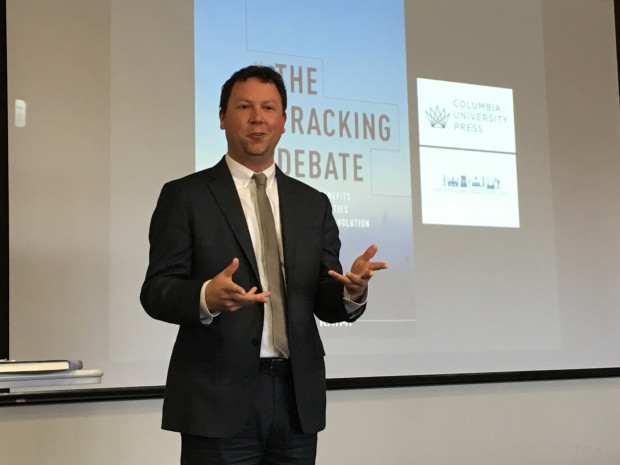 "Daniel Raimi, author of the newly released book ""The Fracking Debate,"" speaks at the University of Pittsburgh."