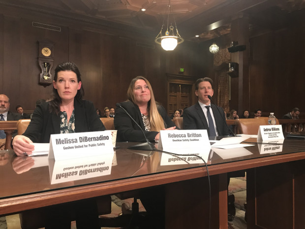 From left to right: Melissa DiBernadino, Goshen United for Public Safety, Rebecca Britton, Uwchlan Safety Coalition, and Andrew Williams, EDF testified at a joint senate hearing Tuesday.