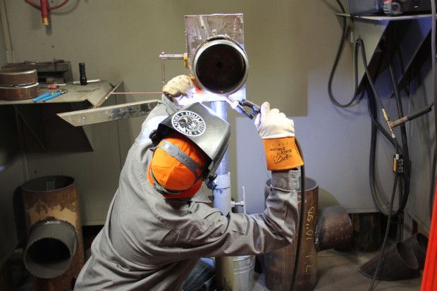 An apprentice at Steamfitters Union Local 449 near Pittsburgh practices pipe welding in the union's new training facility. Photo: Reid R. Frazier