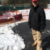 TJ Allen, a resident of West Whiteland Township in Chester County, stands in front of sinkhole enclosures in his back yard. Allen said he's worried about the sinkholes, and the fact that Sunoco has been ordered to make sure an existing pipeline that runs through his neighborhood is safe.