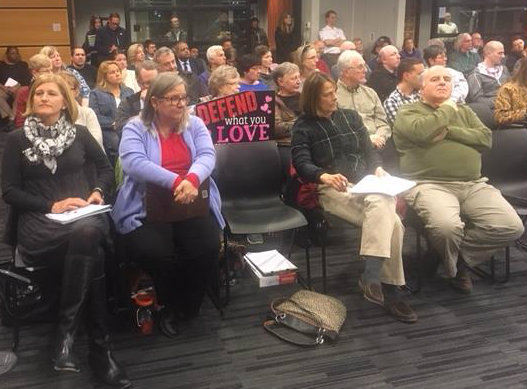 Residents of Chester County's West Whiteland Township on Monday pressed pipeline regulators for answers on Sunoco's Mariner East construction after it produced sink holes behind some local homes.