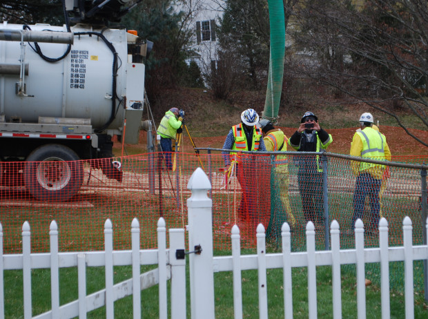 Workers and contractors for Sunoco Pipeline have been investigating geological conditions behind homes at Lisa Drive, West Whiteland Township, Chester County where the company has been drilling for construction of the Mariner East 2 and 2X pipelines. The company offered to relocate residents of the five homes whose yards are crossed by the pipeline right of way.